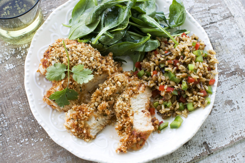 Panko bread crumbs add a satisfying crunch to the boneless, skinless breasts used in baked barbecue chicken.