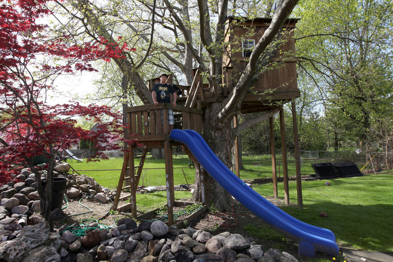 The Mifsud family's backyard tree house has a bunk bed, a skylight and a slide.