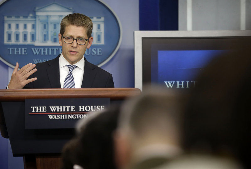 White House Press Secretary Jay Carney gives his daily news briefing Monday. Carney spoke on subjects including the recent scandals involving the IRS and Justice Department.