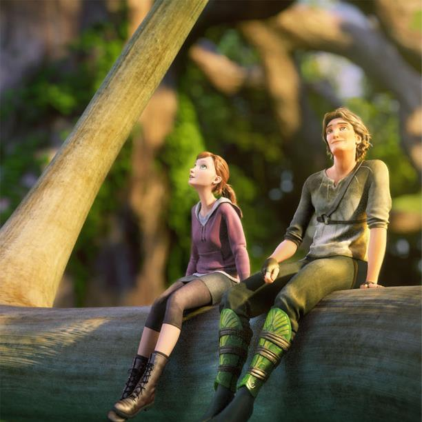 """M.K. and Nod, voiced by Amanda Seyfried and Josh Hutcherson, in a scene from """"Epic,"""" opening Friday."""