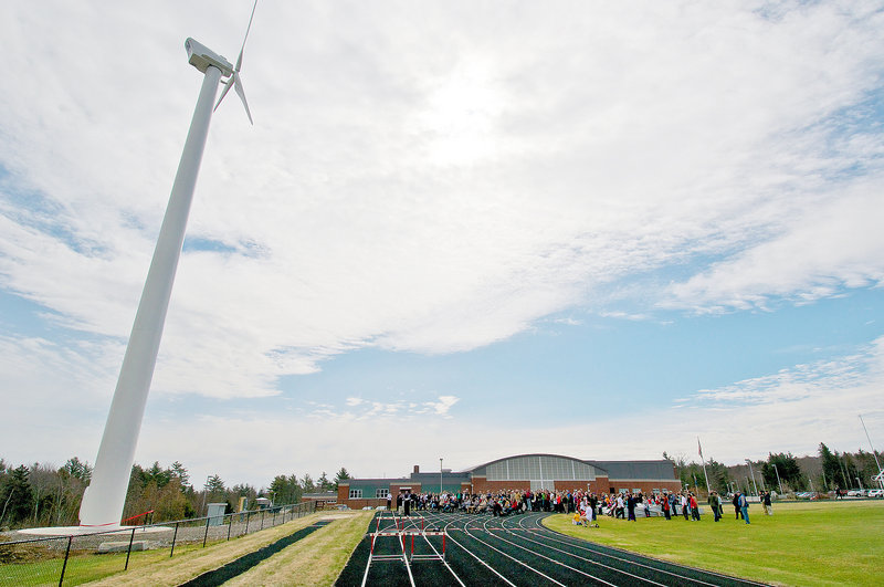 This 100-kilowatt wind turbine towers over the campus at Camden Hills Regional High School in Rockport. The Windplanners club raised $500,000 for the project.
