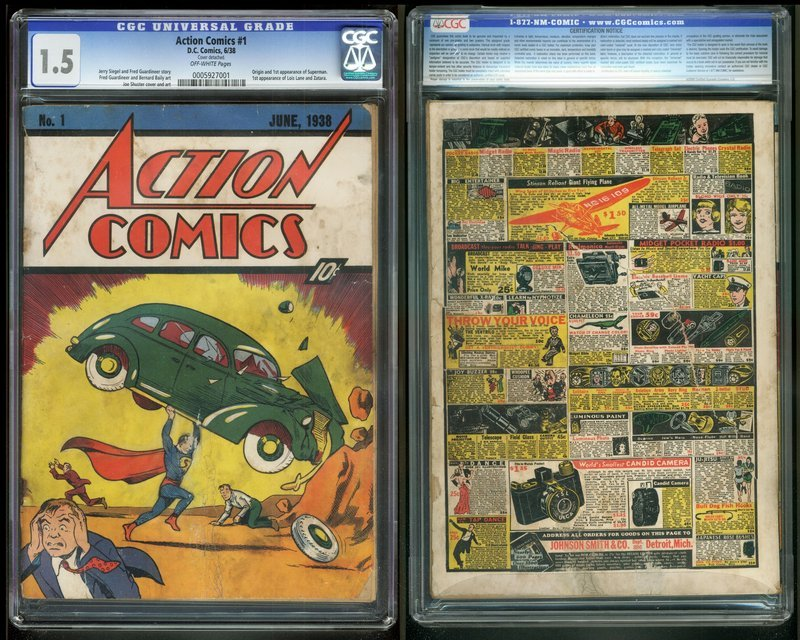Image shows Action Comics No. 1 from 1938, featuring the debut of Superman, the Man of Steel.