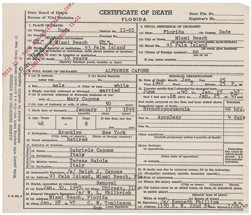 This image released Thursday, May 30, 2013, by RR Auction in Amherst, N.H., shows the death certificate for gangster Al Capone. The document is part of an
