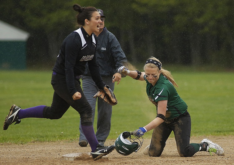 Kim Hussey of Marshwood reacts after Bonny Eagle's Mariah Harrison is out at second base during Wednesday's softball game at Standish. The game ended 5-5 after seven innings because of rain and will be counted as a tie.