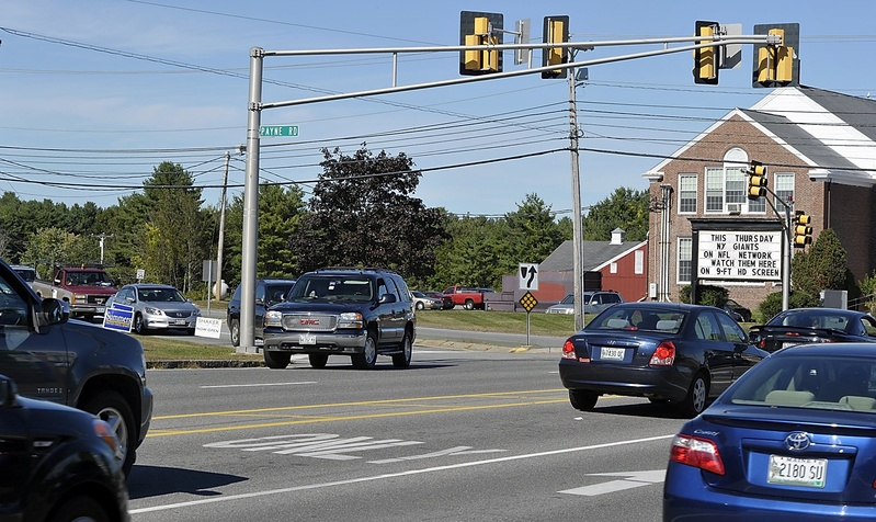 This is the busy Route 1/Payne Road intersection in Scarborough as it appeared last September. A reconstructed intersection is scheduled to open Monday.
