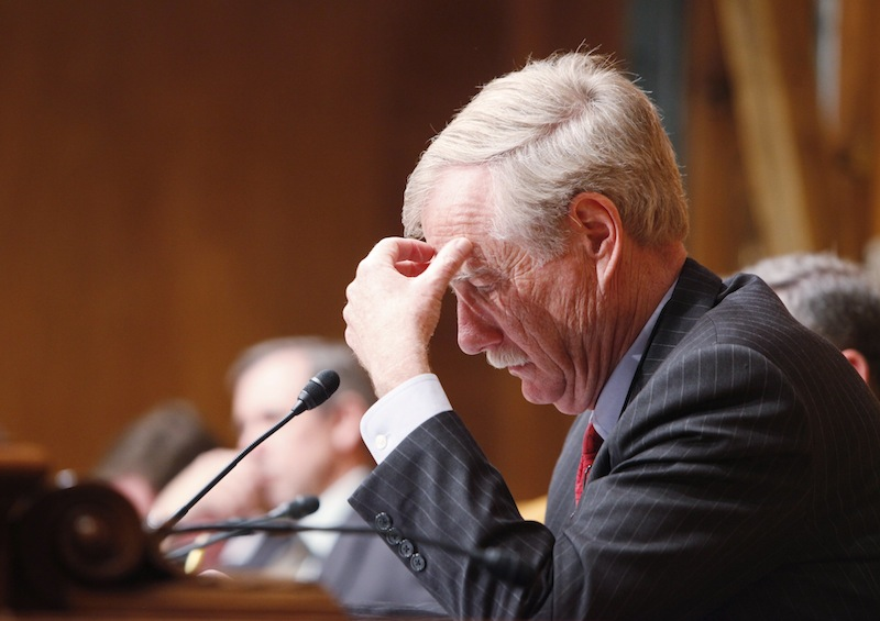 In this April 2013 file photo, U.S. Sen. Angus King, I-Maine, looks over paperwork during a hearing of the Budget Committee in Washington, D.C. A small group of U.S. senators, including King, rushed Wednesday, June 26, 2013 to finalize a last-minute compromise to prevent interest rates on federal student loans from doubling next month.
