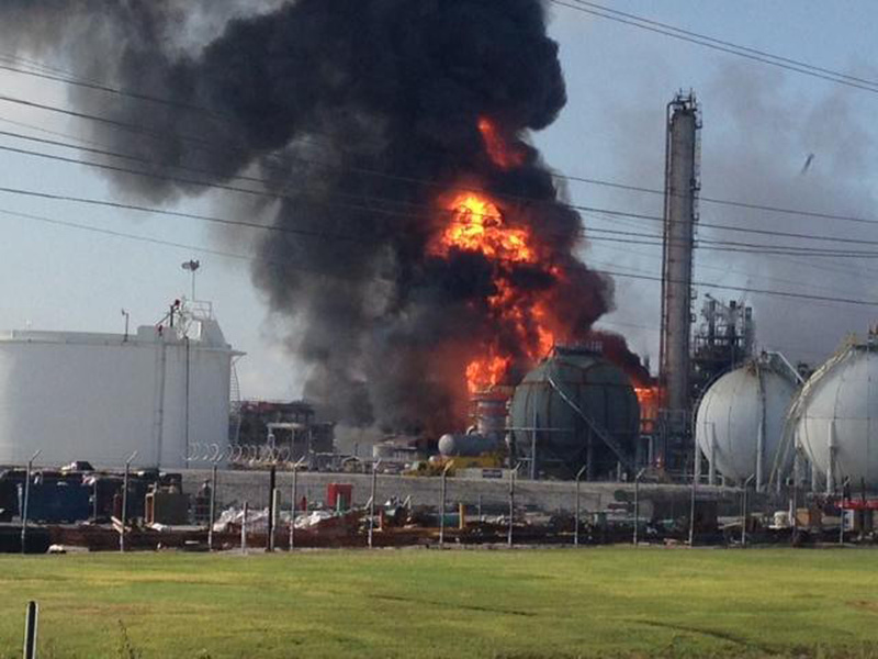 Fire follows an explosion at The Williams Companies Inc. plant in Geismar, La., on Thursday.