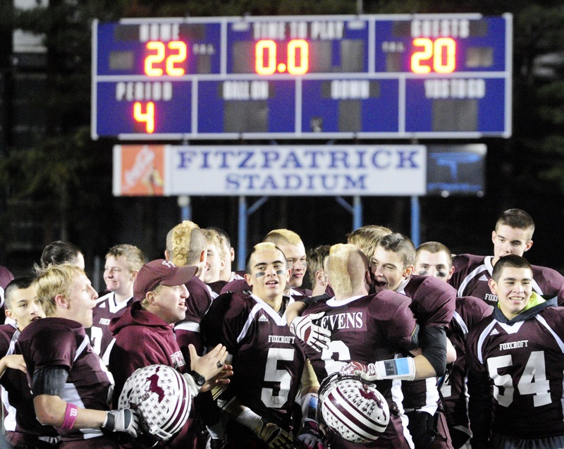 Fitzpatrick Stadium in Portland will continue to host three of the four state football championship games, while UMaine would host the fourth, under a proposal by the Maine Principals' Association. Here, the Foxcroft Academy Ponies celebrate after winning the Class C state title last year.