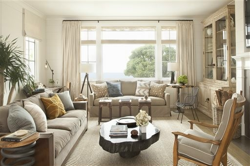 Sandy shades create a calming atmosphere for this living room.