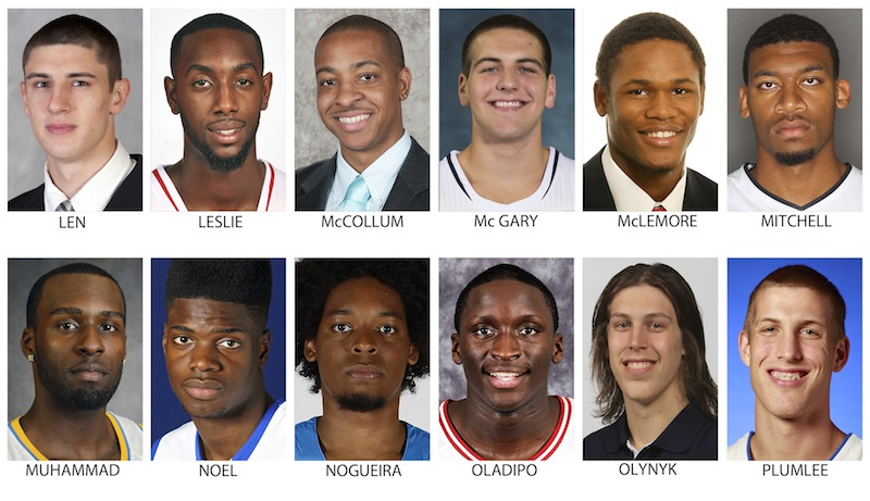These recent images provided by their respective schools or team show prospects in the 2013 NBA Draft. Top row from left are Alex Len, Maryland; C.J. Leslie, North Carolina State; C.J. McCollum, Lehigh; Mitch McGary, Michigan; Ben McLemore, Kansas and Tony Mitchell, North Texas. Bottom from left are Shabazz Muhammad, UCLA; Nerlens Noel, Kentucky; Lucas Nogueira, Estudiantes; Victor Oladipo, Indiana; Kelly Olynyk, Gonzaga and Mason Plumlee, Duke . The Draft takes place June 27, 2013 in New York. (AP Photo)