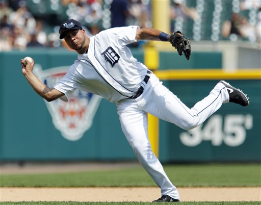 Detroit Tigers shortstop Jhonny Peralta throws out Boston's Shane Victorino at first base in Detroit on Sunday.