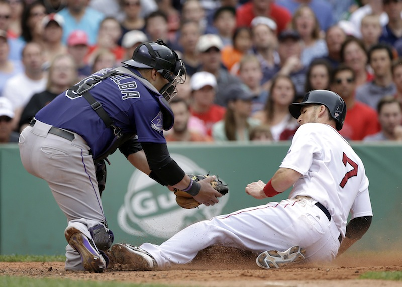 Boston Red Sox's Stephen Drew (7) is tagged out at the plate by Colorado Rockies catcher Yorvit Torrealba as he tries to score on a fielder's choice during the sixth inning of an interleague baseball game at Fenway Park in Boston, Wednesday, June 26, 2013. (AP Photo/Elise Amendola) Fenway Park