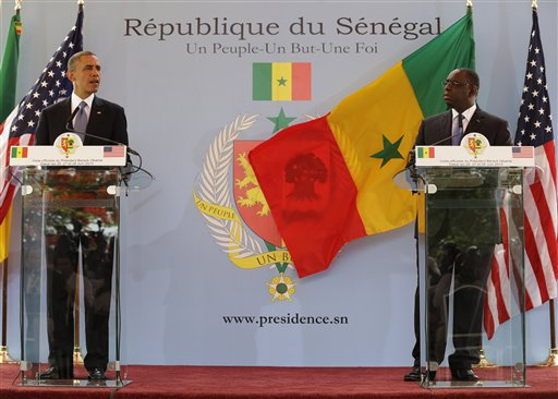 U.S. President Barack Obama speaks during a joint news conference with Senegalese counterpart Macky Sall at the presidential palace in Dakar, Senegal, Thursday.