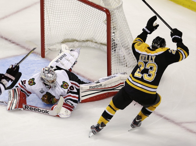 Boston Bruins center Chris Kelly (23) celebrates his goal past Chicago Blackhawks goalie Corey Crawford (50)during the first period in Game 6 of the NHL hockey Stanley Cup Finals, Monday, June 24, 2013, in Boston. (AP Photo/Charles Krupa) TD Garden