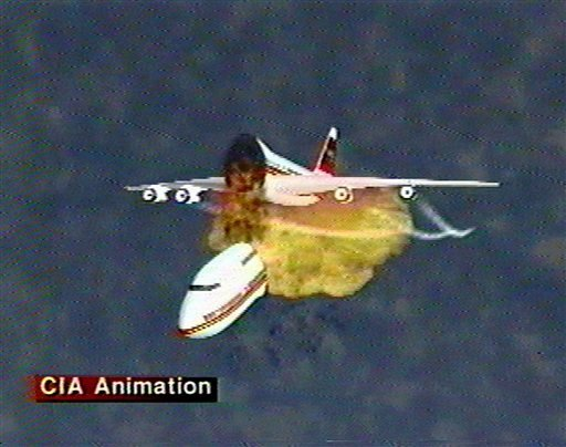 This image, provided by the Central Intelligence Agency on Dec. 9, 1997, shows an animation of the disintegration of Paris-bound TWA Flight 800 as it explodes off the coast of Long Island on July 17, 1996. The video was used to explain eyewitness accounts of the explosion, which killed all 230 people aboard.