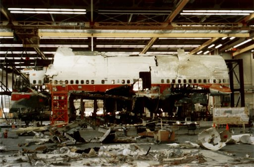 This photo released by the National Transportation Safety Board shows reconstruction work continuing on March 6, 1997, in Calverton, N.Y., on TWA Flight 800.