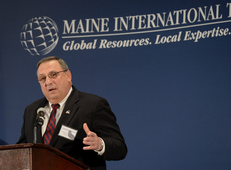 Gov. Paul LePage speaks Friday at a luncheon. Five months into the 126th Legislature, there has been little compromise between LePage's agenda and Democratic priorities when it comes to big or controversial issues.