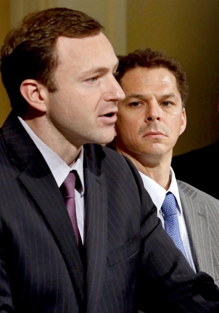 The selection of Mark Eves, left, and Justin Alfond to top legislative posts signaled Democrats' desire for leaders who would stand up to LePage.
