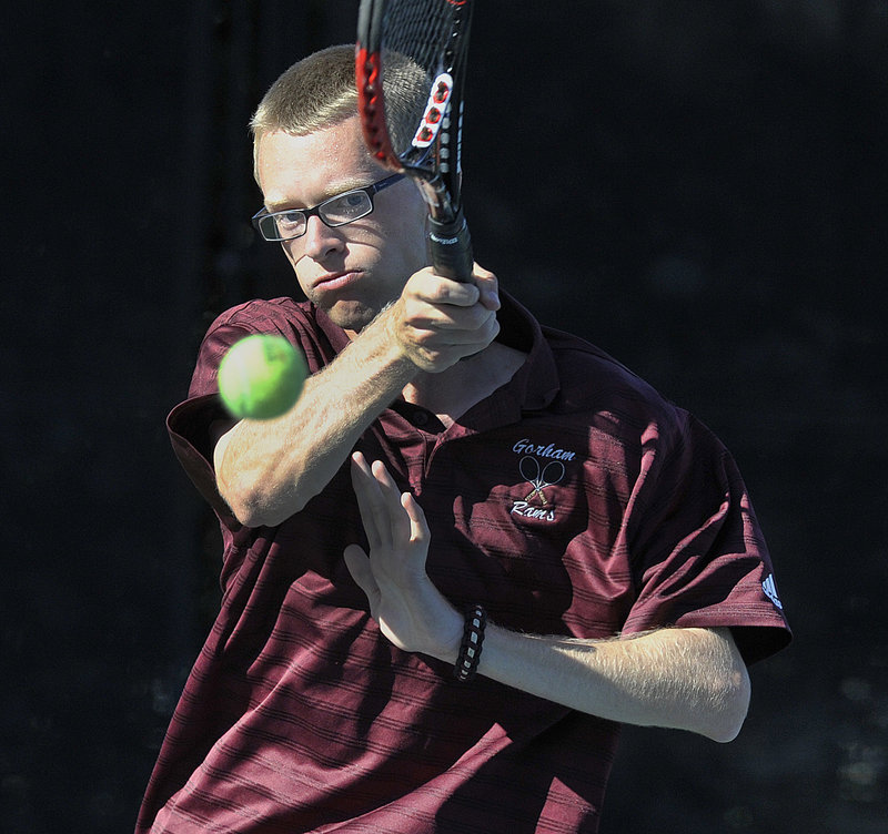 Ryan Gilbert of Gorham follows through on a forehand in his 6-4, 6-3 win at No. 2 singles. The Rams will meet Bangor in the state final Saturday for the second straight year.
