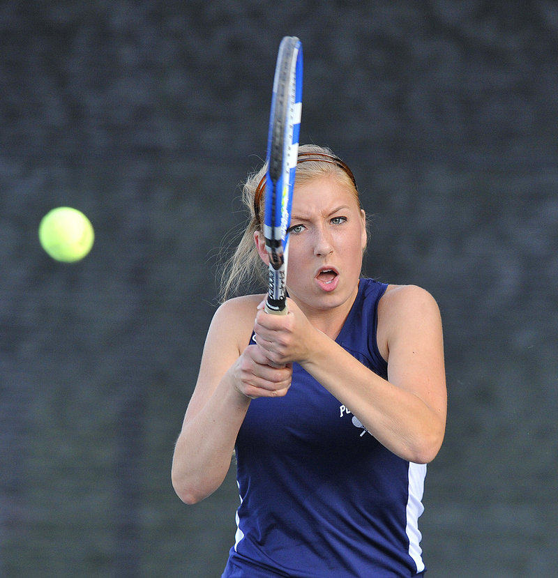 Annette Denekas posted a 6-2, 6-1 win at No. 1 singles as Portland advanced to the Class A state final.