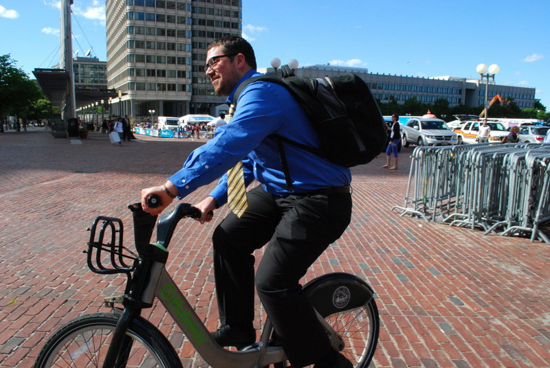 Alex Moran of Boston's Allston area is among the many Bostonians to take advantage of Boston's two-year-old Bike Share that offers low-cost bicycle rentals 24/7 from outdoor docks all around the city. Portland has obtained federal money to explore the feasibility of such a program.