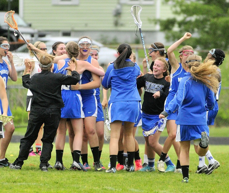 Game over, and the Morse High girls' lacrosse team got to celebrate Friday, reaching the Eastern Class B final for the first time by rallying past top-seeded Gardiner for a 9-8 victory.