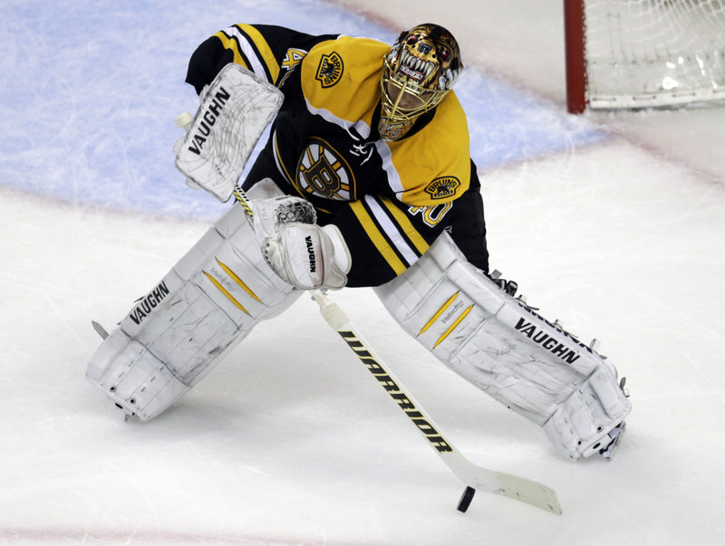 Tuukka Rask of the Boston Bruins clears the puck Friday night – all part of his second shutout in the four-game series sweep against the Pittsburgh Penguins. Pittsburgh totaled just two goals in the series.