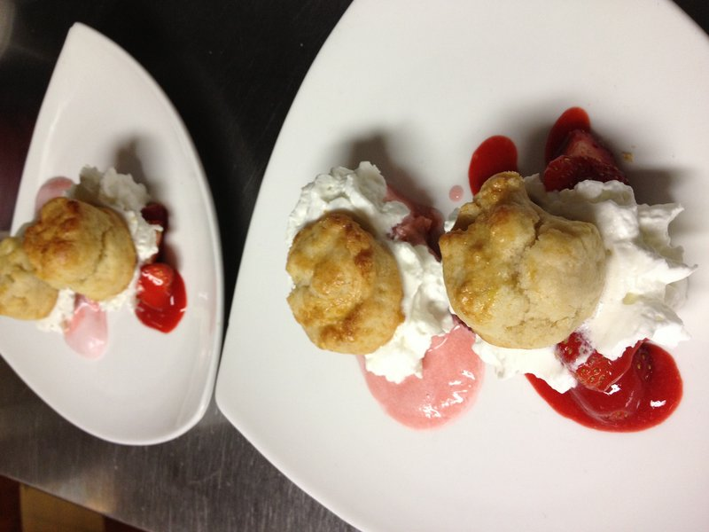 The strawberry and rhubarb shortcake served by chef/owner Shanna O'Hea at Academe at the Kennebunk Inn.