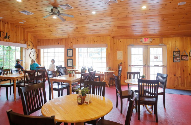 The sun-splashed cafe area of the Pine Tree Farm Market & Cafe in Wells.