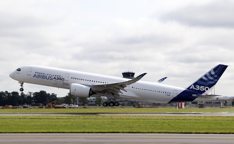 The Airbus A350 takes off near Toulouse, France, on Friday. The Airbus A350 sets up major competition for Boeing after the U.S. aerospace company ran into problems with the lithium batteries of its 787 Dreamliner.