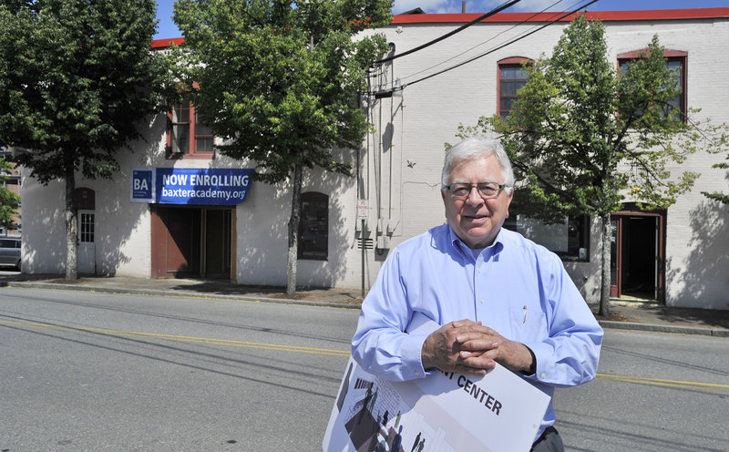 Baxter Academy's executive director Carl Stasio stands outside the school's building at 54 York St. in Portland. Photographed on Wednesday, June 19, 2013.