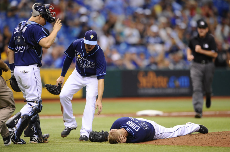 Alex Cobb of the Tampa Bay Rays was the latest pitcher to go down from a line drive up the middle. The odds are low that it would happen, but that doesn't lessen the impact.