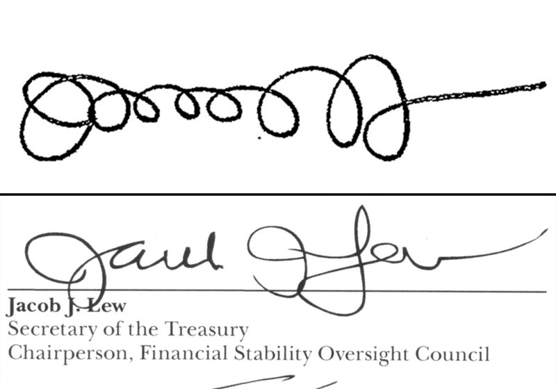 Jacob J. Lew used the signature at top when he was director of the Office of Management and Budget in 2011. Now the Treasury secretary, he has developed the more legible signature above for printing on U.S. currency.