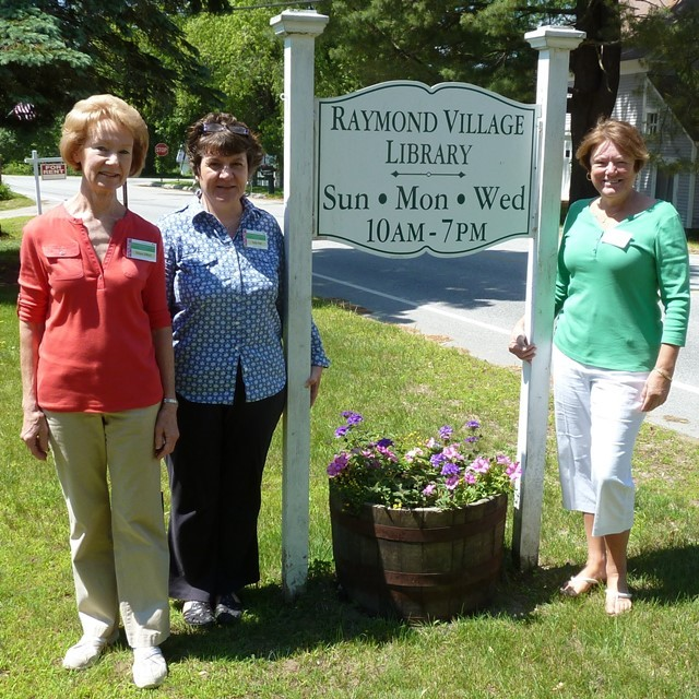 Raymond Village Garden Tour organizers, from left, are Elissa Gifford, originator of event and operations head; Sally Holt, Raymond Village Library director; and Steering Committee head Kim Paterson Manoush.