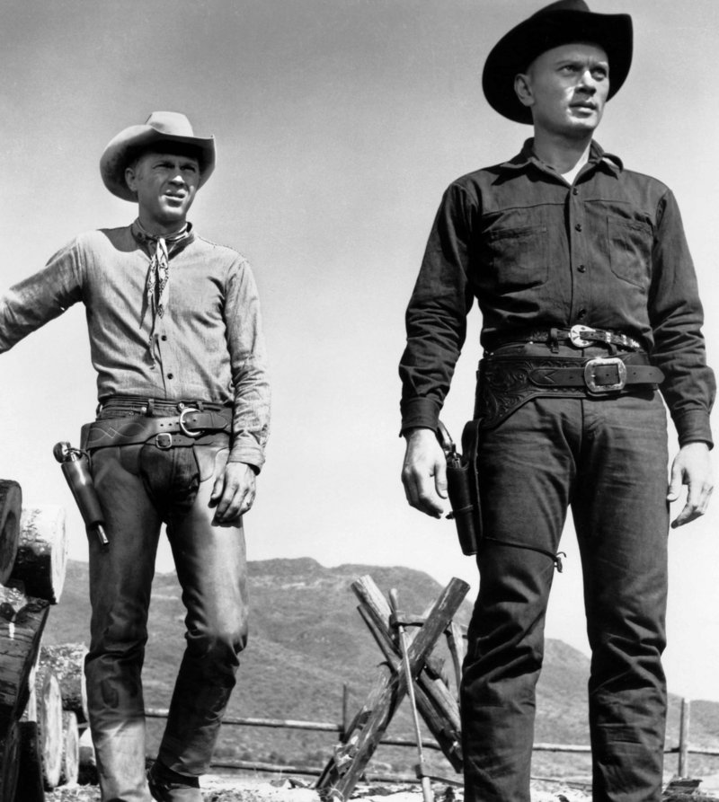 "Steve McQueen and Yul Brynner in ""The Magnificent Seven"""
