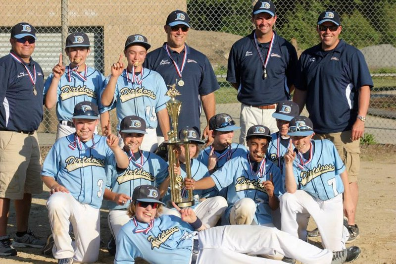 The 12U Maine Dirt Dogs AAU baseball team finished an undefeated season by winning the New England championship on Saturday. The team includes players from Saco, Gorham and Scarborough. Pictured from left to right: Front – Brogan McDonald; Middle – Ean Patry, Luke Chessie, Timmy Smith, Andrew Degeorge, Anthony Bracamonte, Landon Heidrich and Andy Swanson; Back - Coach James Searle-Belanger, Brogan Searle-Belanger, Ben Nelson, and coaches John Degeorge, Ryan Chessie and Dan Patry; Not pictured – Thomas Palmer.