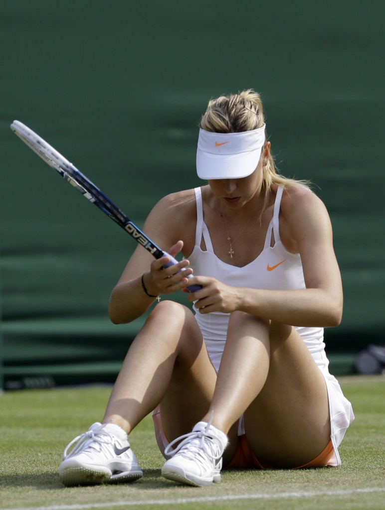 Maria Sharapova had a tough time keeping on her feet and went down … and also down to defeat in straight sets, to Michelle Larcher de Brito of Portugal, the 131st-ranked player in the world.