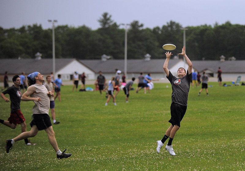 Jared DeWolfe of Falmouth catches a goal for Rising Tide, a youth ultimate team made up of the best high school players in Maine.