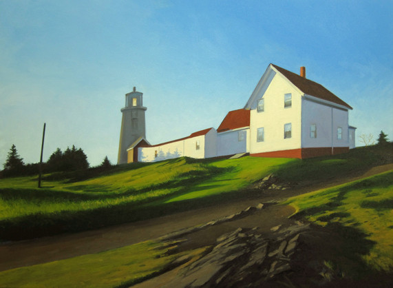 """Up to the Lighthouse"" by landscape painter Kevin Beers, from ""Monhegan Island,"" the exhibition of his work continuing through July 27 at Gleason Fine Art in Boothbay Harbor. A reception for Beers and fellow exhibitor Tim Christensen, a ceramic artist, will be held at 5 p.m. Friday."