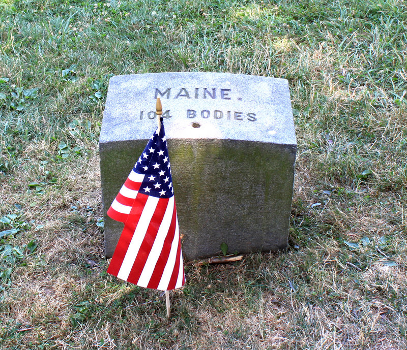A monument marks the burial place for 104 Mainers at Soldiers' National Cemetery in Gettysburg, Pa. Ninety-six more casualties from Maine are buried elsewhere at the site.