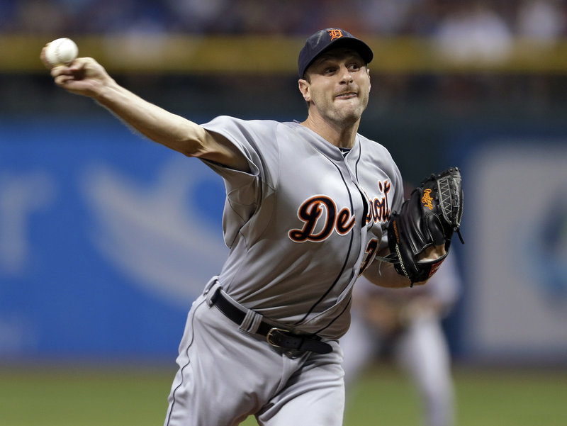 Detroit ace Max Scherzer frustrates the Tampa Bay Rays on Friday with a strong seven-inning performance as the AL Central first-place Tigers won 6-3 in St. Petersburg, Fla.