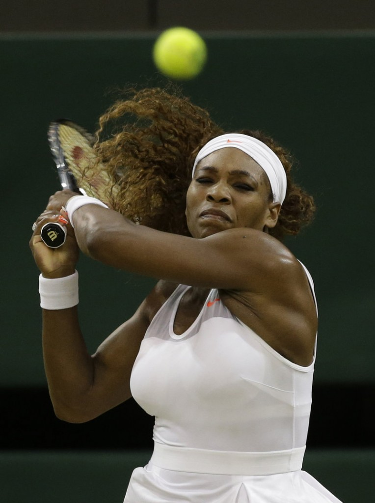 Serena Williams dominated 42-year-old Kimiko Date-Krumm, the oldest woman at Wimbledon, to record her 600th career victory Saturday at Centre Court.
