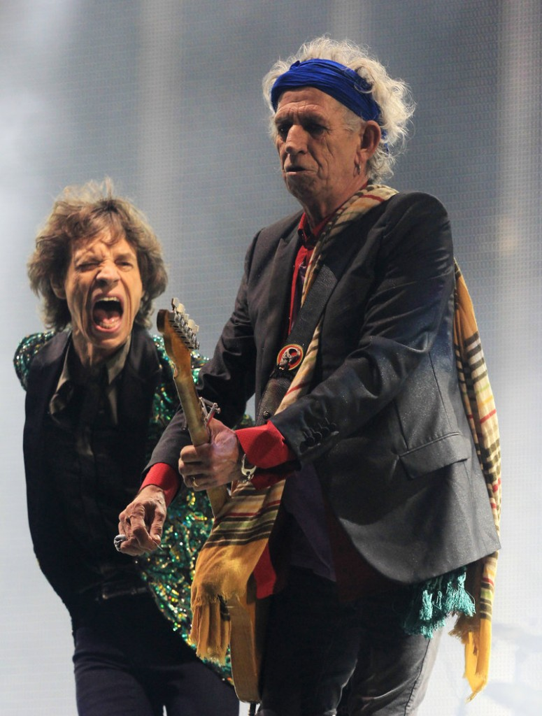 Mick Jagger, left, and Keith Richards of the Rolling Stones perform at Britain's prestigious Glastonbury Festival on Saturday for the first time.
