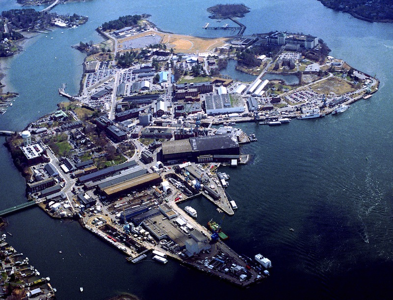 An aerial photo of the Portsmouth Naval Shipyard in Kittery, Maine. More than 2,000 Mainers and their families will feel the effects of Congress' stalemate over federal spending next week as furloughs begin for Department of Defense employees across the country. Among those affected: 678 support employees at the Portsmouth Naval Shipyard.