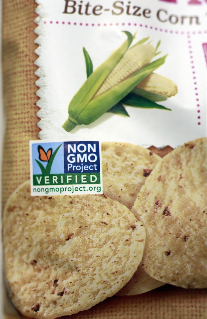 A product labeled with Non Genetically Modified Organism (GMO) is sold at the Lassens Natural Foods & Vitamins store in Los Feliz district of Los Angeles Friday, Oct. 5, 2012. Gov. Paul LePage confirmed Tuesday that he'll sign a bill that would require food producers to label products that contain genetically modified ingredients. (AP Photo/Damian Dovarganes)