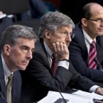 From left, National Security Agency Deputy Director John C. Inglis, Robert Litt, general counsel in the Office of Director of National Intelligence, and Sean Joyce, deputy director of the FBI, testify on Capitol Hill in Washington on Wednesday as the Senate Intelligence Committee questioned top Obama administration officials about the National Security Agency's surveillance programs.