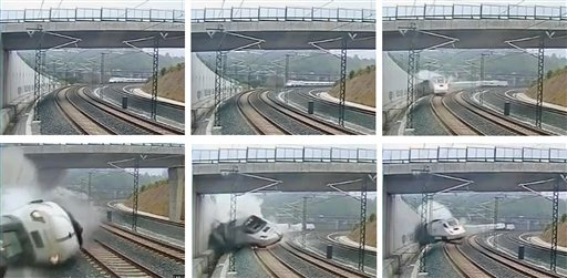This combination image taken from security camera video shows clockwise from top left the train derailing in Santiago de Compostela, Spain, on Wednesday.