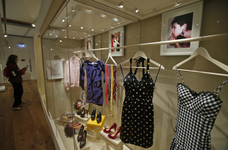 Clothes that used to belong to Amy Winehouse are seen at an exhibition,