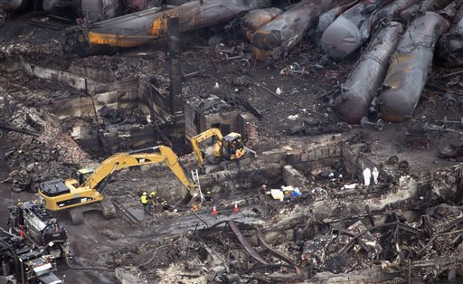 Workers comb through the debris Tuesday, July 9, 2013 in Lac-Magantic, Quebec. A fiery oil train derailment caused explosions and fires that devasted the town. (AP Photo/The Canadian Press, Paul Chiasson)