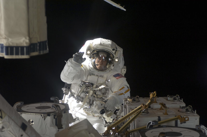 In this July 27, 2009, photo, Astronaut Chris Cassidy, participates in the mission's fifth and final extravehicular session as construction and maintenance continued on the International Space Station. NASA photo via Reuters